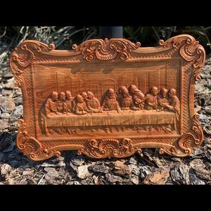 Custom Carved Last Supper Wall Plaque